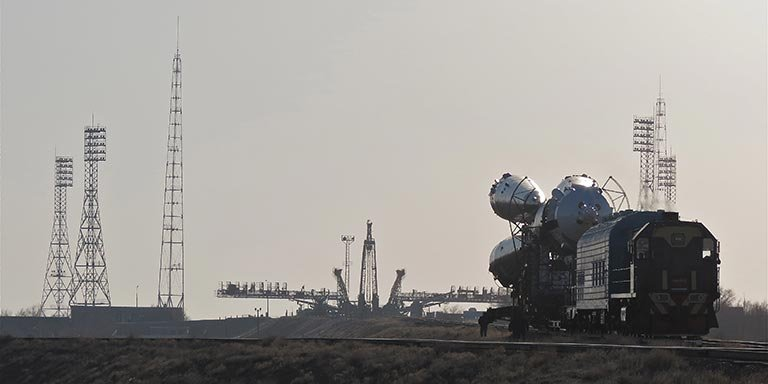 Soyuz TMA-08M on the way to the launch pad